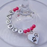 Pawprint Heart Personalised Wine Glass Charm